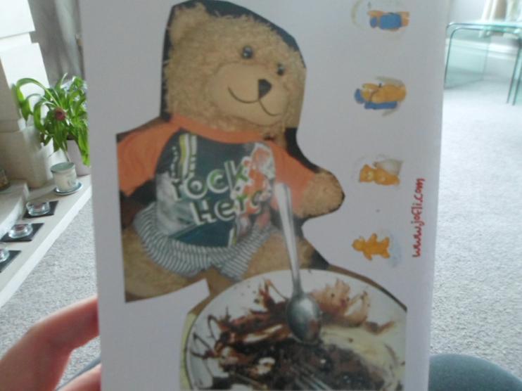 Jofli eating chocolate cake, yum yum!
