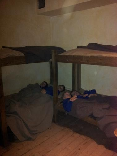 Trying out the Roman bunk beds.