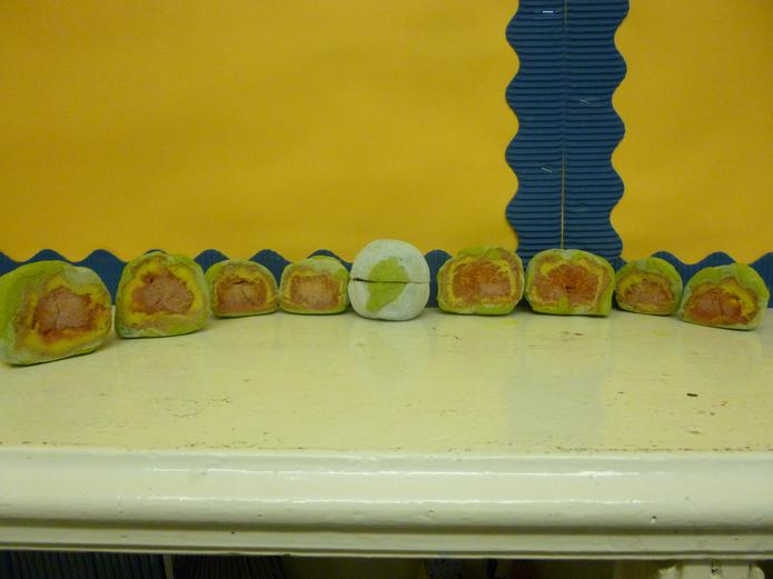 Can you see: Inner core, Outer core, and Mantle?