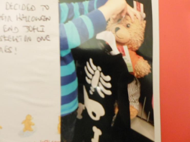 Jofli choosing his new skeleton outfit.