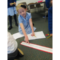 Using giant numberlines on the carpet.