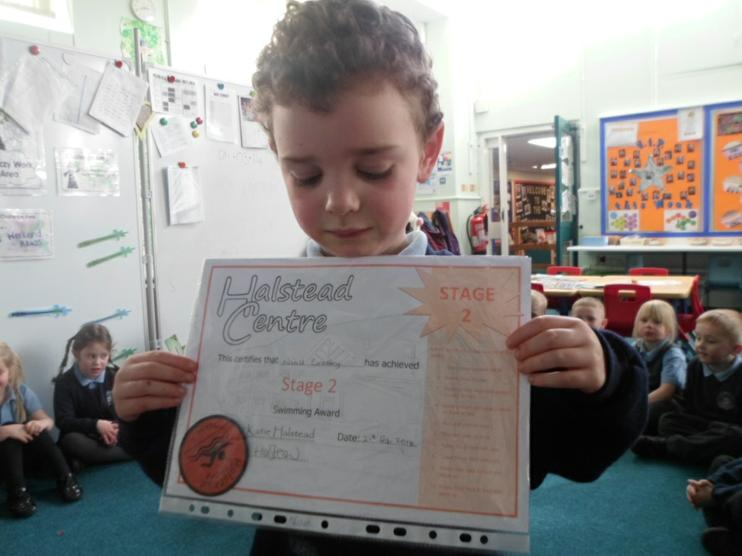 Stage 2 swimming certificate. Well done!