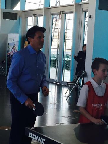 Lord Seb Coe playing table tennis with our pupils