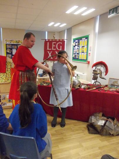Havin startled us all with the roman trumpet.