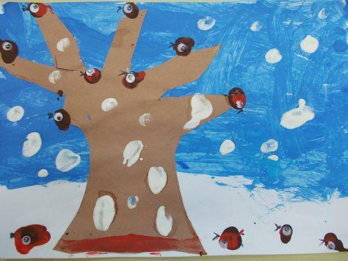 Year one used finger painting to create Robins