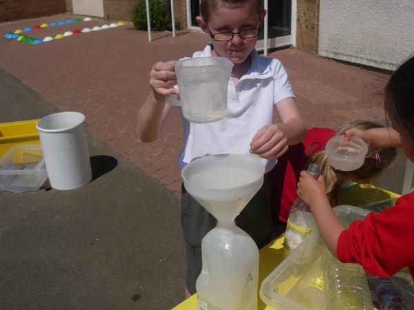 Enjoying measuring in the sunshine