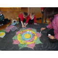 A whole school rangoli pattern.