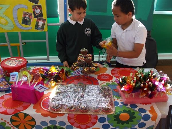 Children worked hard to make stalls attractive.