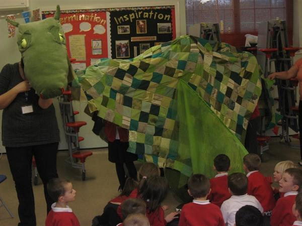 a huge dragon came into the hall!