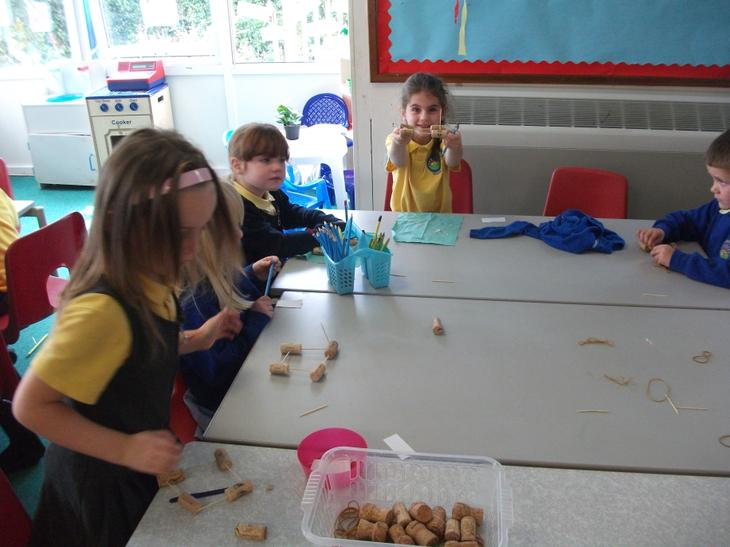 Making our cork boats.