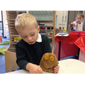 Making a Gruffalo from dough