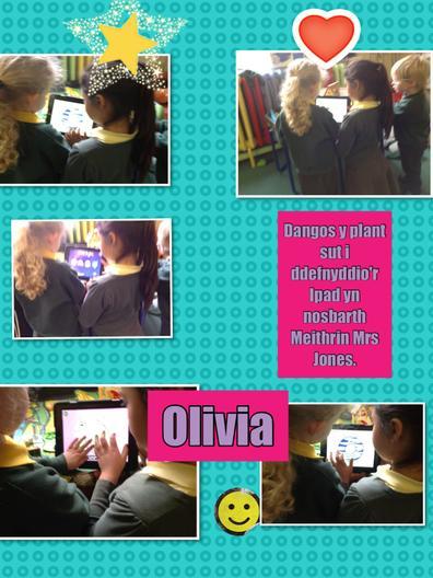 Olivia gyda dosbarth Miethrin Prynhawn Mrs Jones.
