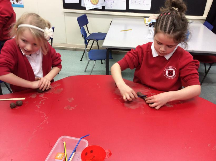 We used clay to make figures.