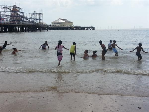 Everyone playing in the sea