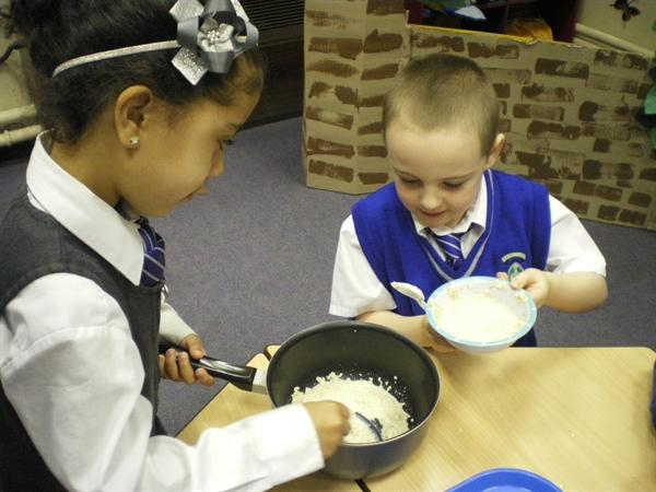 Then we put the porridge in the pan ready to heat.