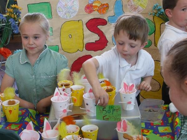 Year 1 children enjoyed handling real money.
