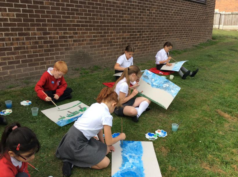 Artists capturing the landscape around school