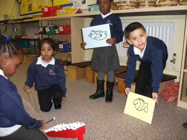 Reception are learning about high and low sounds