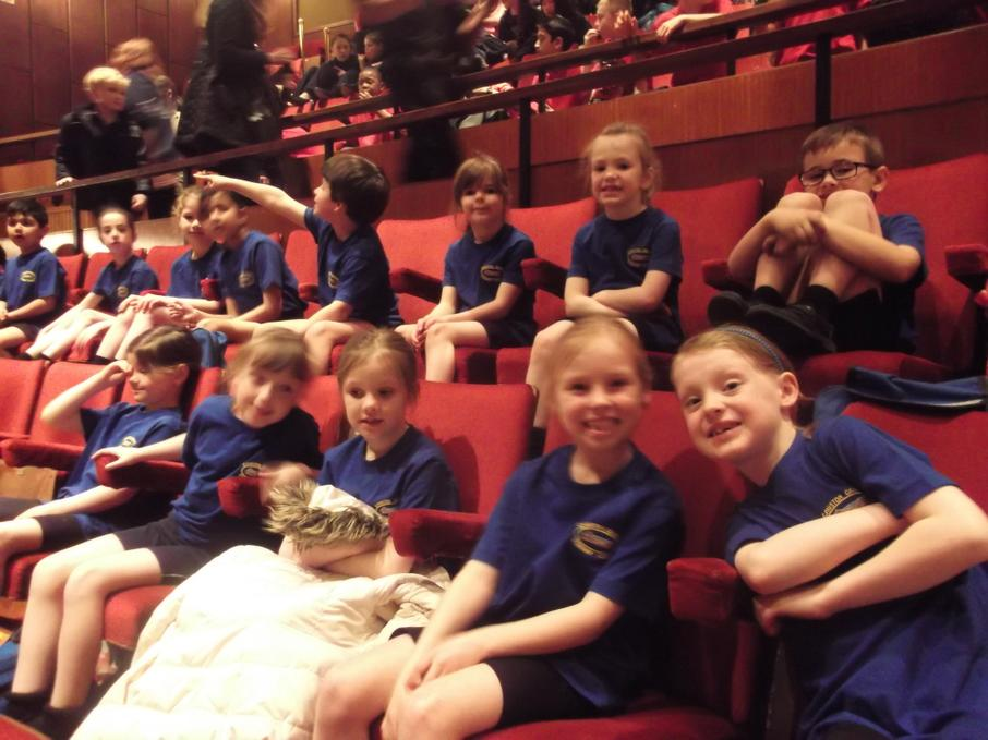 Watching the other dance groups at the theatre!