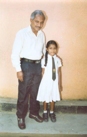 Hiruni at her new school with the Deputy Head