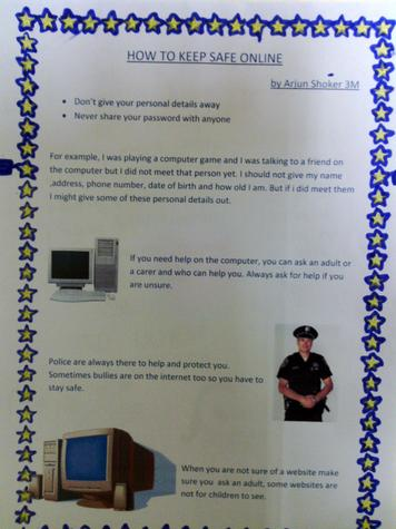 Year 3 have been thinking about on line safety.