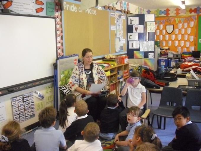 Rowan class listened to the story.