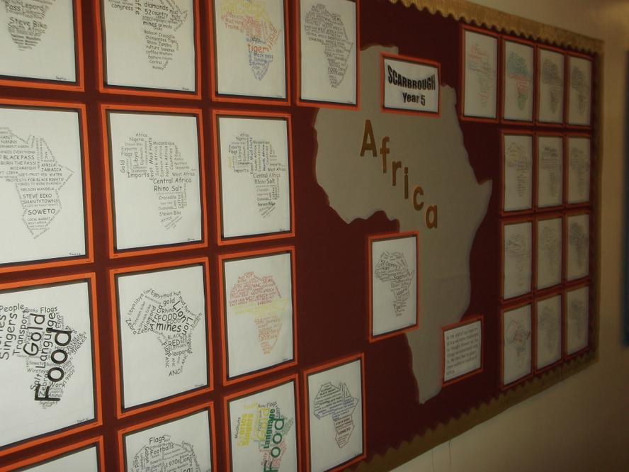 """Year 5's """"Thought Showeres"""" of Africa"""