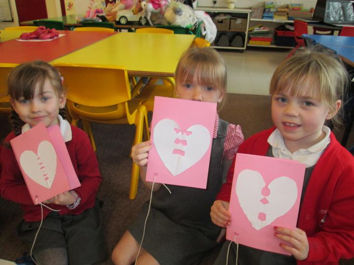 We made Valentine's Day cards