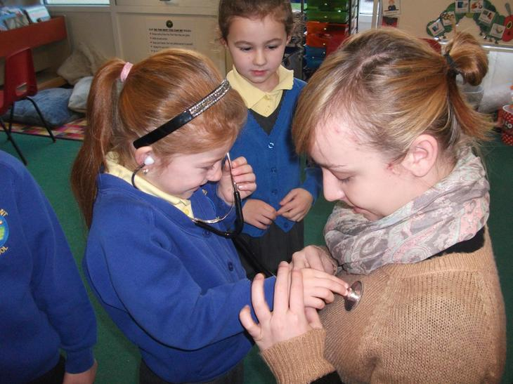 The children listened to Miss Selwood's heart beat