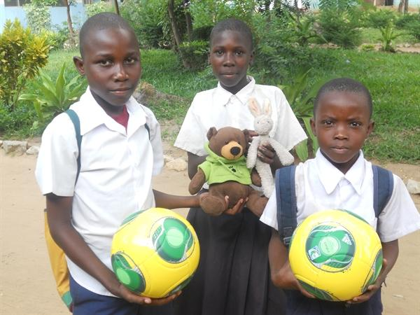 The children liked the new footballs.