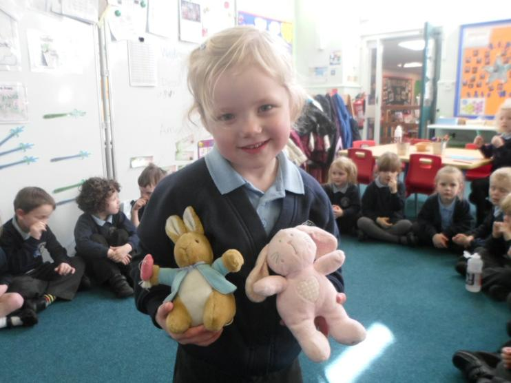 Peter Rabbit and Pink rabbit visited Reception.
