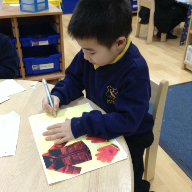 Making marks to represent quantities of clothing.