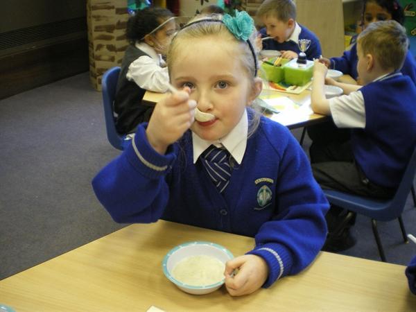 Last we ate our porridge all up