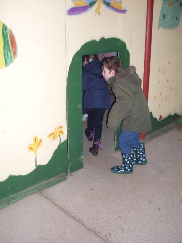 Walking into the deep dark minibeast tunnels.