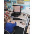 Using the computer to conduct research.