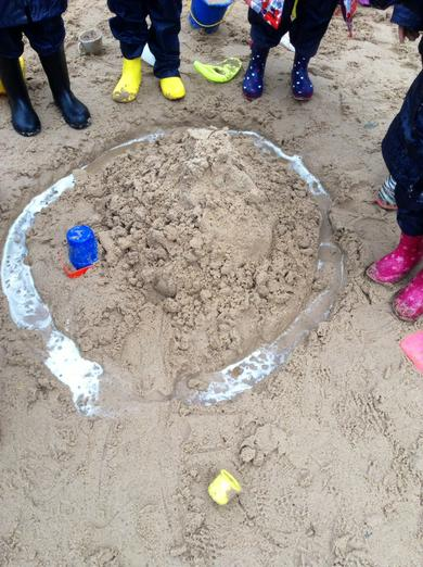 Look at our castle and moat.