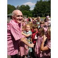 Keith McCartney visiting the school in July.