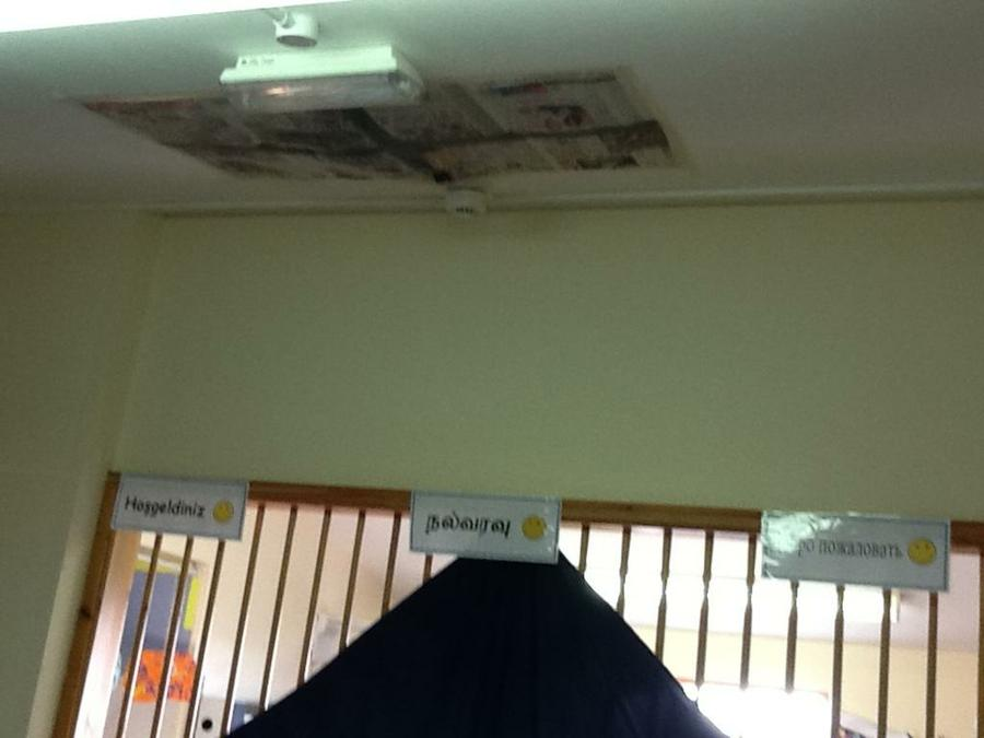 We had to cover the hole in the ceiling!