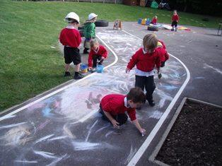 Chalking on our playground