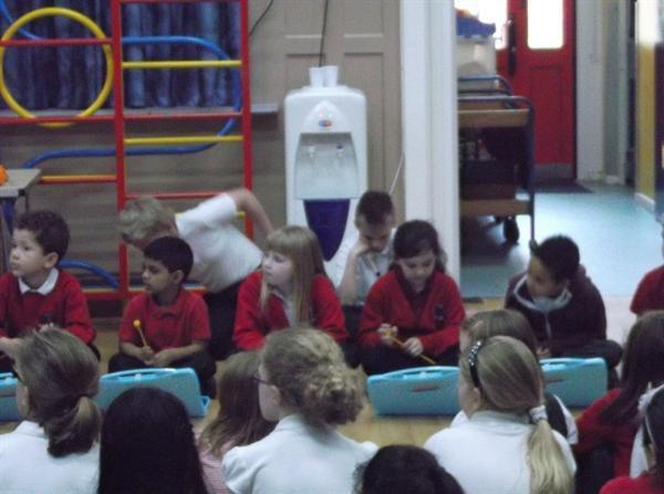year 3 enjoying their volcano drumming p