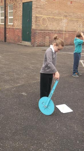 We used trundle wheels to measure distance.