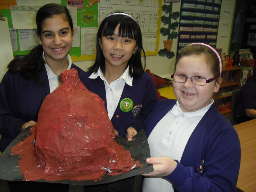 Year 5 making volcanoes for IPC