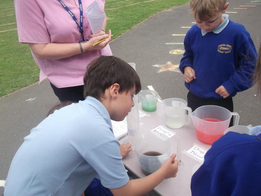 Measuring out ingredients for our magic potions!