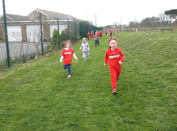 We ran round the school field 4 times