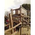 Miss Amos on the climbing frame