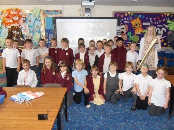 Miss Blakemore's class meet Olympic Torchbearer (