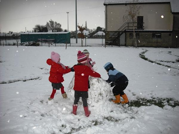 Playing in the snow is great!