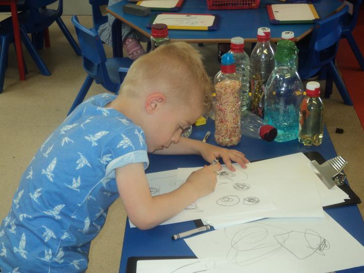 Drawing pictures of the tadpoles