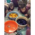 Exploring colour-mixing through tie-dye.