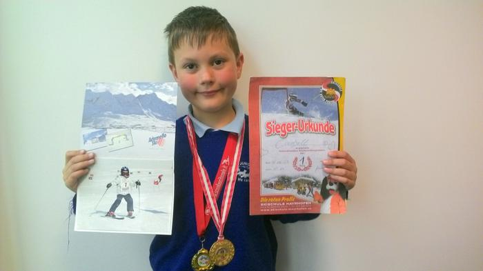 Cambell - 1st place in skiing!